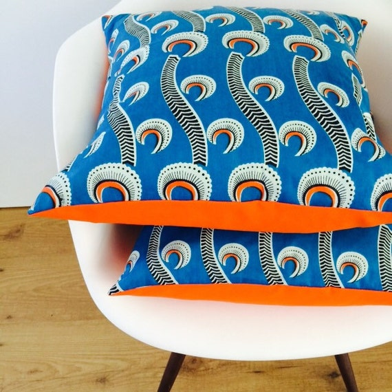 "SALE Mid Century Pillow Cover 18""x18"" Cushion Tribal Teal Bright Blue African Tropical Botanical Motif Bold Orange Black and White Modern"