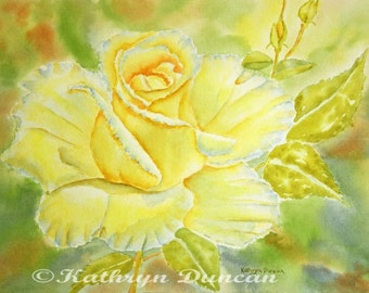 Yellow Roses Watercolor Painting Giclee Print, yellow, green, rust,  Flower painting, small, medium, large