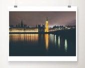 london photograph big ben photograph houses of parliament photograph london print travel photography night photograph london decor