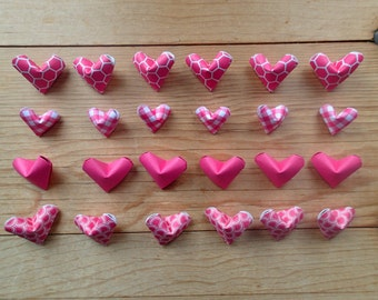 Pink Collection of Hearts, set of 24.