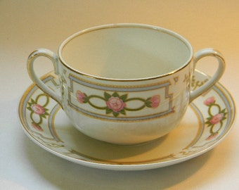 JOHNSON BROS. Double Handled Cup and Saucer