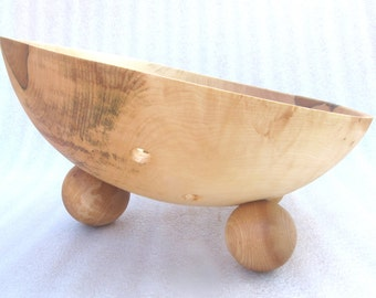 Decorative maple fruit bowl (#2400), 34 x 20-12 cm (13.2 x 8-5.5 in.), Natural oil finish, food safe, ecologically sourced wood