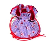 Drawstring Jewelry Bag Pouch - Jewelry organizer - Lilac and red travel bag