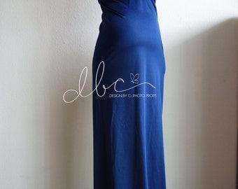 Navy blue Slim Fit Jersey maxi dress/modeling/senior props
