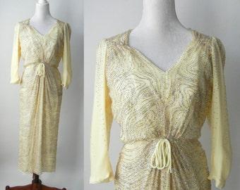 Vintage 1980s Cream and Silver Sparkle Silk Dress