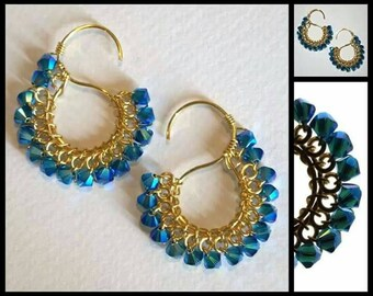 Signature  S  Earrings  with  Swarovski  Crystals  in  Capri  Blue AB
