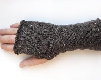 Short Knit Fingerless Gloves for men, Thumbhole Arm Warmers, gifts for men