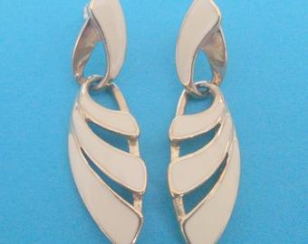 Vintage Trifari White Enamel Drop Earrings