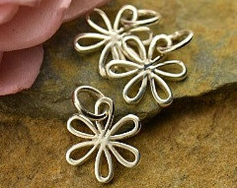Daisy Small Sterling Silver Daisy Charm with Open Petals - Silver Openwork Daisy, Flower Charm, Flowers