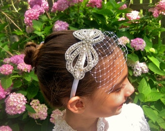 Fiery Rhinestone Wedding Headband .. Rhinestone Flower Girl Headband ..  Bridesmaid Hair Accessory .. Birdcage Veil