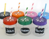 "Plastic Mason Jars 8oz w/ ""FREE"" Chalkboard Labels / Kids Cups / 10 Plastic Jars, 10 Daisy Cut Jar Lids & 10 Labels / Kids Party"