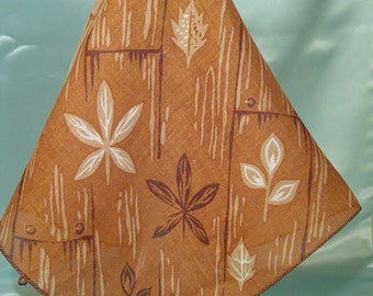 Leaf Assortment, Ladies Hankies, Vintage Colored Leaves Hankie, Collectible Fall Hankie, Large Size Brown Handkerchief, Fall Theme Hankie