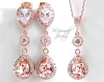 Soft Pink Bridal Earrings Rose Gold Bride Necklace Blush Wedding Jewelry Swarovski Vintage Rose Wedding Earrings Pastel CZ Bridesmaid Gift