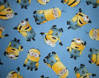 Minion Tossed Characters Minons Despicable Me Blue Cotton Fabric Fat Quarter Or Custom Listing