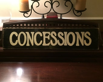 CONCESSIONS Home Movie Theater Ballfield Sports Decor Snack Shop Bar Room Sign Primitive Wooden Hand Painted You Pick Color