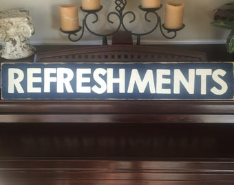 REFRESHMENTS Home Movie Theater Decor Snack Shop Concessions Ballpark Bar Room Sign Primitive Wooden HP You Pick Color