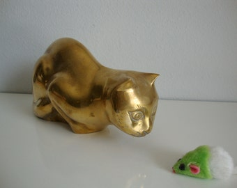 Vintage Brass Cat Figurine, Large Brass Cat, Pouncing  Cat