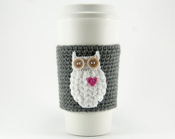 Coffee cozy, cup sleeve, owl always love you, owl coffee cozy, gray sleeve, pink heart, Valentine's day gift for her, valentine