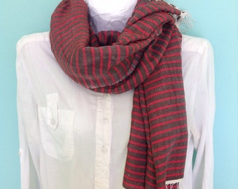 Scarf- women's & men's Red and Brown Nautical Stripe Scarf-  handwoven cotton  Ethiopian scarf with Fringes- large scarves , wrpas stole-
