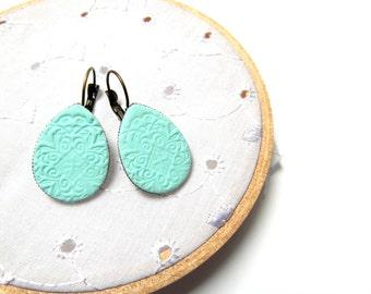 Textured mint Teardrop Earrings
