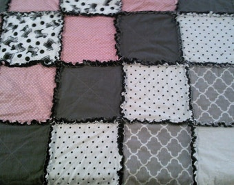 """Set of 2 ~ Handmade Rag Quilt and matching 18"""" Pillow """"Scottie Dogs"""" Throw Size 54"""" x 54"""" Snuggle Flannel Black, Pink & Grey ~ Ready to Ship"""