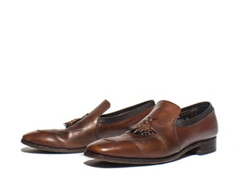 10 B/AA | Nettleton Tassel Loafer Brown Leather Dress Shoe with Stitch Toe Details
