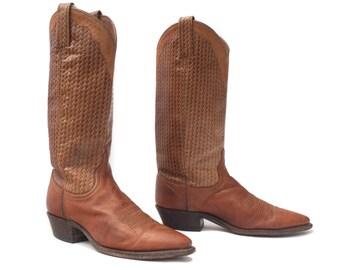 6.5 M | Women's Brown Cowboy Boots Faux Basketweave Print Western Fashion Dan Post