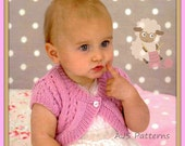 """PDF Knitting Pattern for a Baby or Little Girls Bolero Cardigan To Fit 16"""" to 26"""" Chests"""