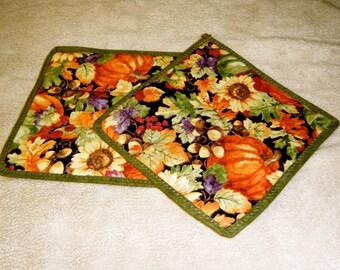 Sunflower Pumpkin Acorn and Berry Pot Holder Set of 2