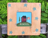 Americana Saltbox house , hand painted  wooden sign,  Primitive home decor, stars, tabletop frame picture, stars and stripes, 4th of July