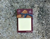 CIJ, Hand painted gingerbread, wooden post it note holder, primitive ginger, office supply, post it note paper
