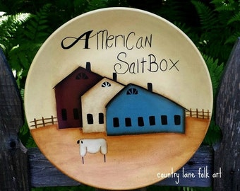 primitive home decor 4th of July decor primitive plate house warming gift farmhouse decor Americana decor hand painted plate saltbox house