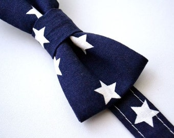 Children's Bow Tie Ages 2-10 Navy Blue with White Stars