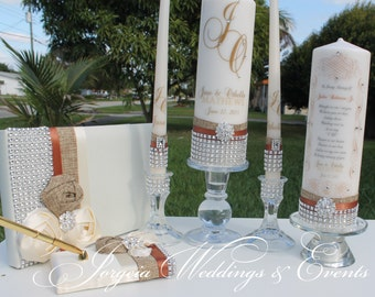 Burlap/Rustic/ Country Wedding.....Ivory Unity candle set, holders, Guestbook and Pen