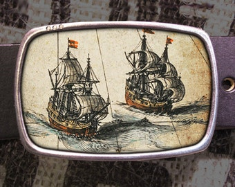 Sailing Ships Belt Buckle, Vintage Inspired 569