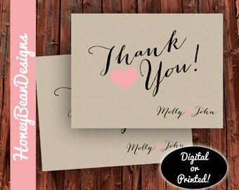 PRINTABLE Thank You Wedding Shower Heart Fancy Vintage Custom Names