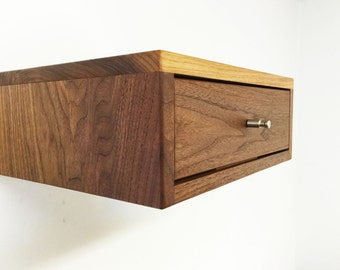 """The """" AcidCube"""" a  floating nightstand, solid walnut"""