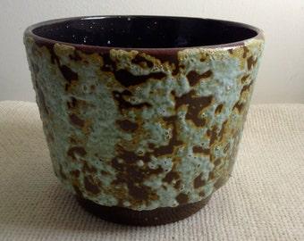 Vintage Fat Lava Planter, flower pot.  Sea Foam on Brown LAVA glazed pottery.   Mid century modern, Danish Modern, Eames era. 1960's.