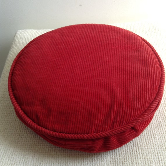 Danish Modern Pillows : Vintage Round Red Corduroy Pillow. 1960 s. Hollywood