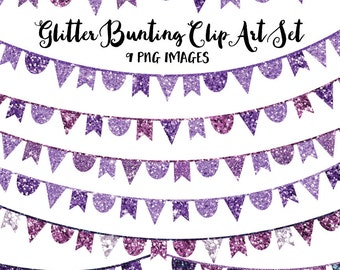 Glitter Clip Art, Purple Bunting Banner Clipart, Purple Clip Art Instant Download Images for Commercial and Personal Use