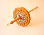 Drop spindle Wooden top whorl  decorative gem very light handmade