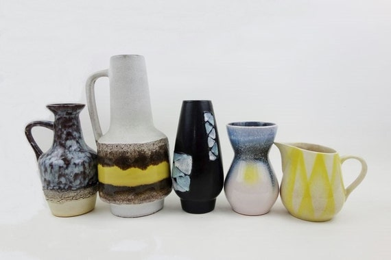 SALE // 5 Vintage German Vases in Blue White and Yellow Shades VEB Haldensleben Strehla