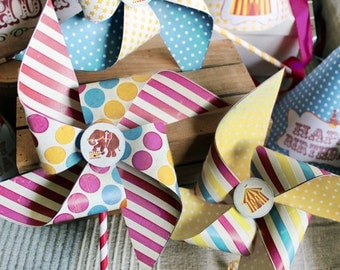 Vintage Circus Pinwheels Candy Combo - INSTANT DOWNLOAD - Printable Birthday Party Decorations by Sassaby
