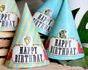 Vintage Zoo Party Hats - INSTANT DOWNLOAD - Printable Birthday Party Decorations by Sassaby
