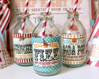 Vintage Circus Drink Bottle Labels - INSTANT DOWNLOAD - Aqua Combo Birthday Party Decorations by Sassaby