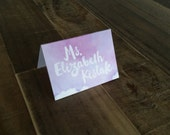 Watercolor Tented Place Cards - Escort Cards - Purple Watercolor Wedding - Guest Cards - Table Cards - Romantic Weddings - Gemma