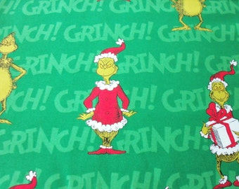 Grinch Fabric Dr. Seuss Green The Grinch who Stole Christmas Cotton By The Fat Quarter BTFQ New