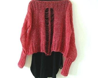 Shredded Detail Sweater.