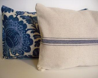 Farmhouse Pillow Blue Grain Sack Pillow Cover Blue Stripe Grain Sack Pillow Blue