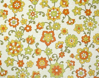 Retro Wallpaper by the Yard 70s Vintage Wallpaper - 1970s  Orange Green and Yellow Floral on White